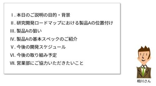 図2●研究開発部門の相川さんが、開発中の製品Aを営業部員にプレゼンするときの構成例