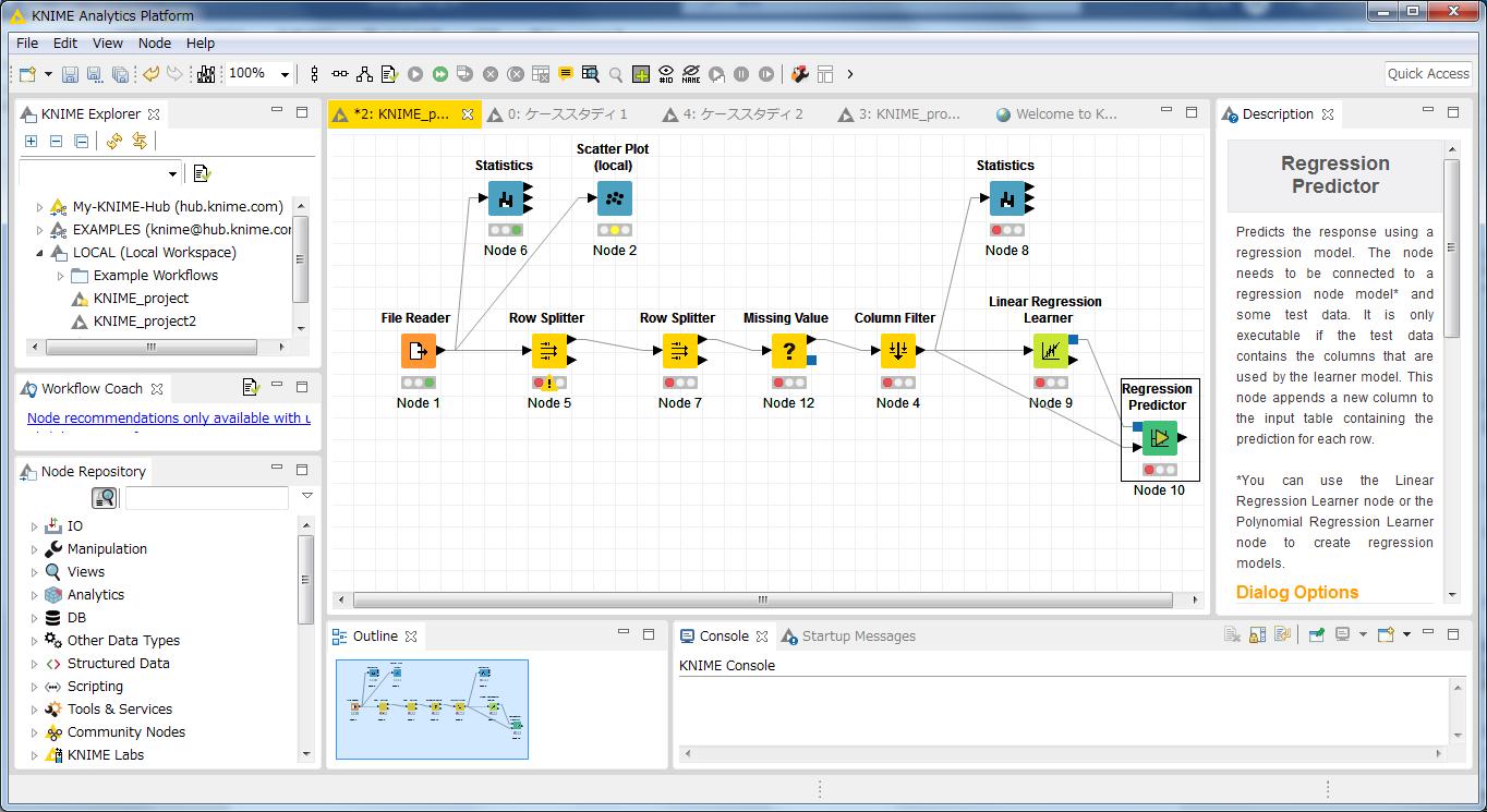 図1●オープンソースの分析ソフト「KNIME(ナイム)」の画面