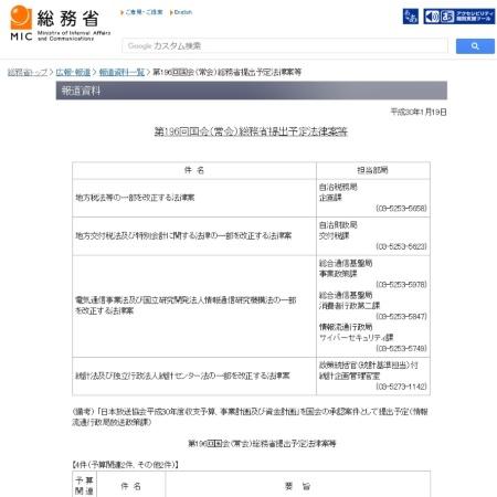 総務省が公開した提出予定の法改正の一覧
