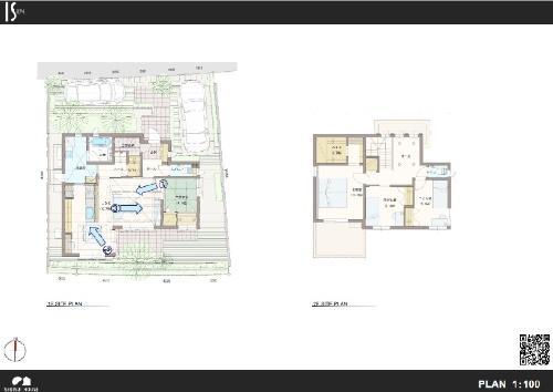 住宅設計図の右下にQRコードを追加した。QRコードをスマホで読み取れば、360度画像を見られるので平面の設計図よりも新居のイメージをつかみやすい
