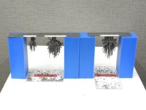 左からフェライト磁石、従来のネオジム磁石(ディスプロシウム含有)、今回開発したネオジム磁石