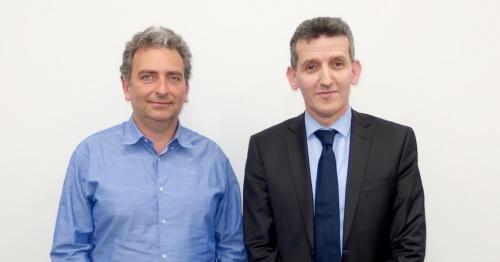 InnovaのIvano Midulla氏(左)とDeFacTo のChouki Aktouf氏(右)。日経 xTECHが撮影