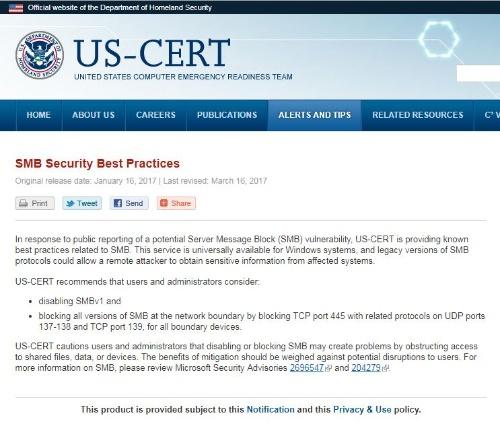 米国のセキュリティ機関US-CERTではSMBv1の無効化を推奨している