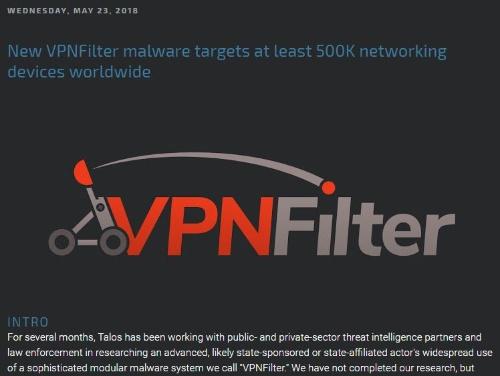 Talosが公開したVPNFilterに関する最初のレポート