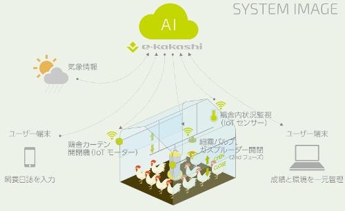 IoTを活用した鶏舎管理サービスのイメージ図