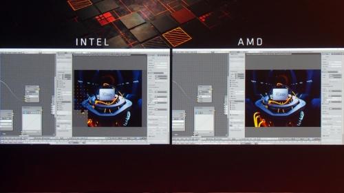 左ではCore i9-7980XEが、右では32コアの第2世代Threadripperが稼働。独MAXON Computer社の3Dグラフィックスソフトウエア「Cinema 4D R19」を使ってレンダリング性能を比較した。左側のCore i9-7980XEはかなりレンダリング領域が残っているが、右側の第2世代ThreadRipperはレンダリングを終えている。筆者撮影