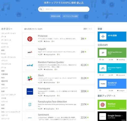 Rakuten RapidAPIのトップ画面。利用ランキングや検索、ジャンル分類などから目的にあったAPIを探せる。