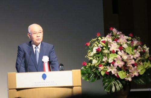 記念式典の開会挨拶をする産総研 理事長の中鉢良治氏