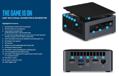 NUC mini PCの「NUC8i3CYSM」と「NUC8i3CYSN」の概要。Intelのスライド