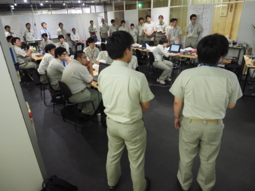 しげる工業で2018年8月2日に開かれた新入社員研修の会場