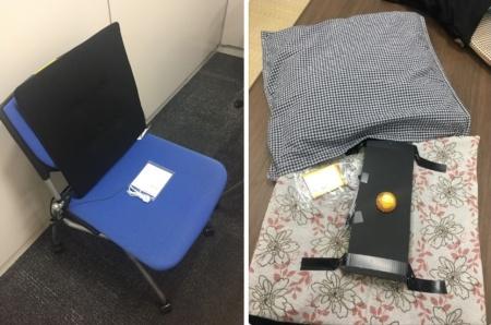 会議室の利用実態を把握するために開発したIoT座布団(左)と、試作した機械式センサーを組み込んだ座布団(右)