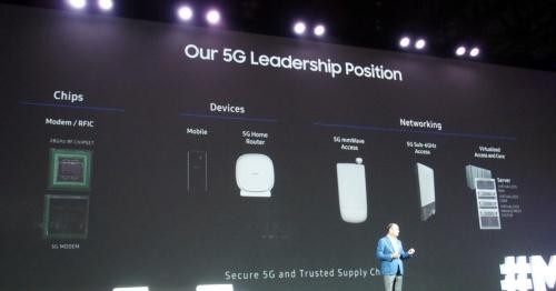 5Gに関して幅広く手掛けていることをカンファレンスでアピール。写真は、9月13日の基調講演中に登壇したSamsung Electronics North America President & CEOのTim Baxter氏のスライド(撮影:日経 xTECH)