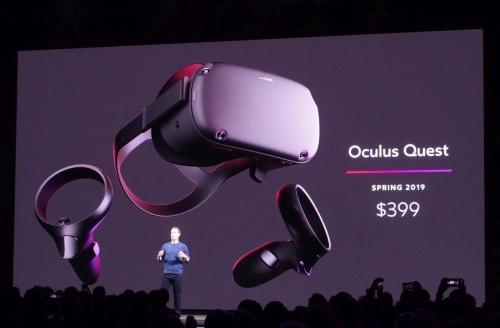 「Oculus Quest」を発表。オキュラスのスライド(撮影:日経 xTECH)