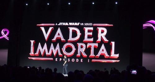 「スター・ウォーズ」シリーズのVR版を発表。オキュラスのスライド。(撮影:日経 xTECH)