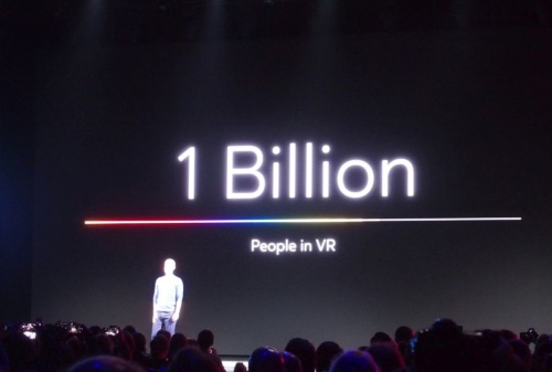 10億人のVRユーザーを目標に掲げる。基調講演のスライド。(撮影:日経 xTECH)