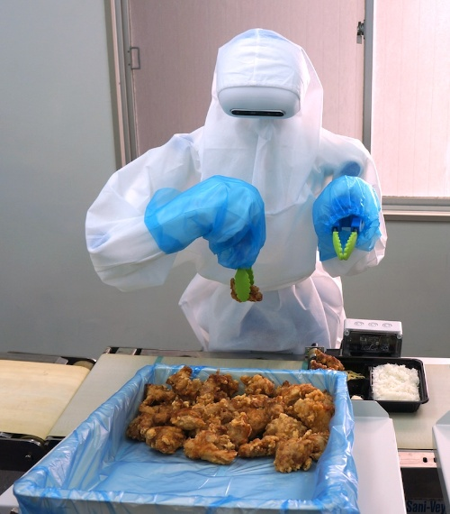 図1 弁当のおかずの盛り付け作業ができる人型協働ロボットのプロトタイプの外観