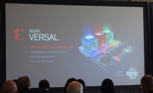 Versalを発表。スクリーンは、Xilinxが報道機関向け説明会で利用したスライド(撮影:日経 xTECH)