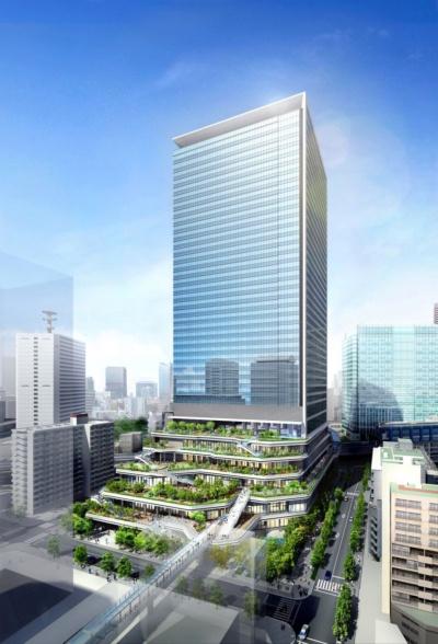竹芝地区開発計画(仮称)におけるソフトバンクグループとソフトバンクの新オフィスの外観イメージ