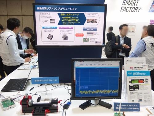 アナログ・デバイセズ(アナデバ)のブースで、MEMS加速度センサーの応用事例を紹介するコーナー。日経 xTECHが撮影