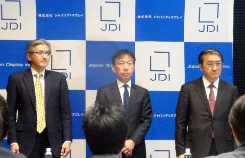 図1 2019年4月12日に開かれた台中連合との提携に関する発表会見は、JDI側だけで実施する異例の会見だった