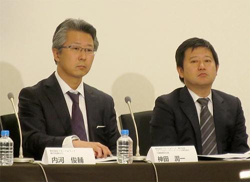 マネーフォワード代表取締役社長CEOの辻庸介氏(右)とマネーフォワードフィナンシャル代表取締役社長の神田潤一氏