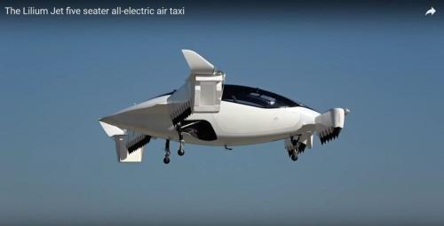 浮上した、Liliumの5人乗りの機体(画像:Liliumの公式動画をキャプチャーしたもの)