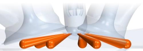 プレチャンバー技術で多点点火になるイメージ。複数の小さな穴から火炎が飛び出る。同技術を開発するIAVの資料を基に作成した。