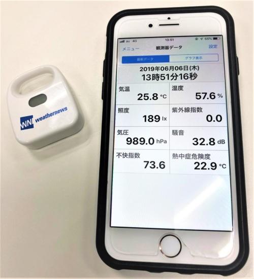 小型気象センサー(左)とその計測値を示すスマホの画面。気温や湿度、熱中症危険度など、現場の環境を細かく計測できる