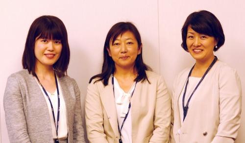 プロジェクトの中核メンバー。左からみずほ銀行の飛永智美氏、栗原恵子氏、みずほ情報総研の手塚貴美子氏