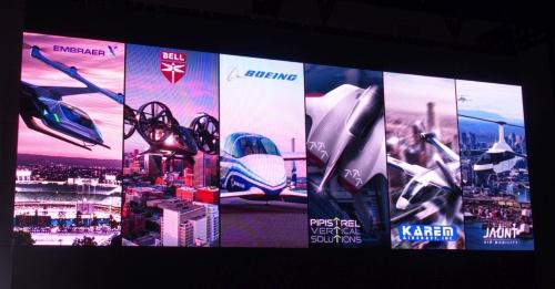 6社目として米Jaunt Air Mobility(右端)が加わった。スライドはウーバー(撮影:日経 xTECH)