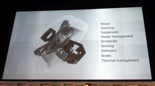モーターや減速機、サスペンション、ブレーキ、センサー、制御用ソフトウエアなどを車輪(ホイール)部に集約。REEのスライド(撮影:日経 xTECH)