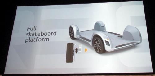 REEのEV基盤は、車輪4つと車台からなり、外観がスケートボードに似ていることから、「skateboard platform」と呼ぶ。REEのスライド(撮影:日経 xTECH)
