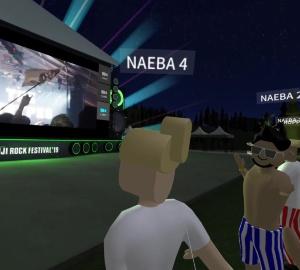 VRヘッドセットで見える映像のイメージ。アバターとなってステージを見たり、他のアバターとコミュニケーションを取ったりできる
