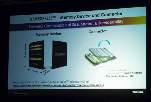 「XFMEXPRESS」を発表。スライドは東芝メモリ(撮影:日経 xTECH)