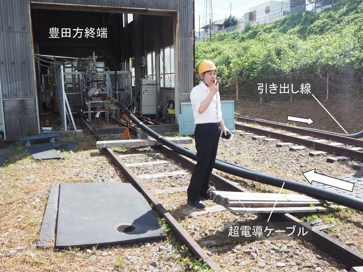 図3 超電導き電システムの豊田方の終端 終端部(片方)に冷凍機、液体窒素の循環用ポンプが必要。さらに実験全体のモニター装置、遮断器(スイッチ)などがある。説明者は研究開発推進部担当部長の富田優氏。(写真:日経 xTECH)