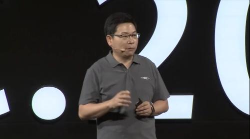 鴻蒙OSについて説明する余承東氏(ファーウェイによる中継動画をキャプチャー)