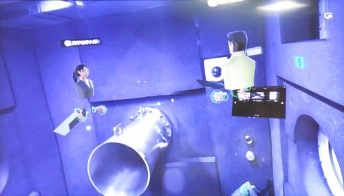 遠隔教育を想定した実証実験のVR映像。参加者のアバターがバーチャル空間に映し出され、個々の参加者がどの向きの映像を見ているかが他の参加者にも分かる