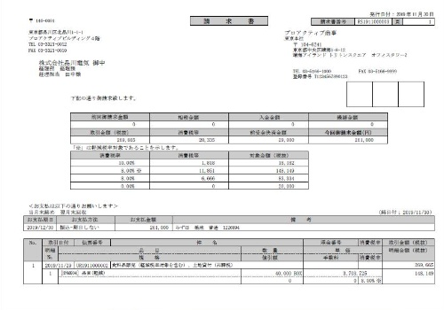 ProActive E2が用意した区分記載請求書の例