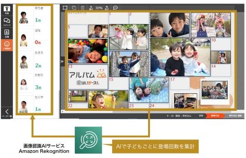 千が提供する卒園・卒業アルバムのオンライン制作サービス「はいチーズ!アルバム」の画面