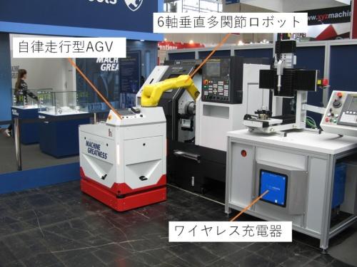 自律走行型AGVに産業用ロボットを組み合わせた自動化システム