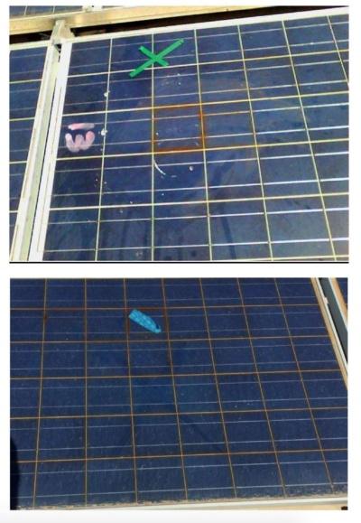 図3●太陽電池の発生したホットスッポト上に残されたテープ