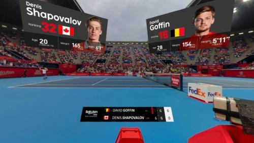 VRゴーグルで視聴できる試合風景。冠スポンサーであることを生かし、他社の実証実験よりもコートに近い位置にカメラを設置したという
