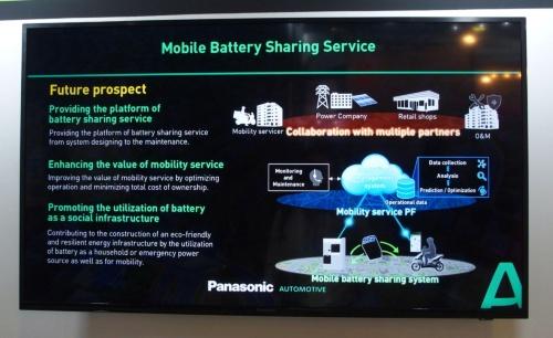 電池パック共有システムの概要。スライドはパナソニック(撮影:日経 xTECH)
