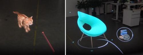 「NrealLight」を使ったデモ画面、現実空間で仮想のペットを飼ったり、インテリアの配置を試したりといったことができる
