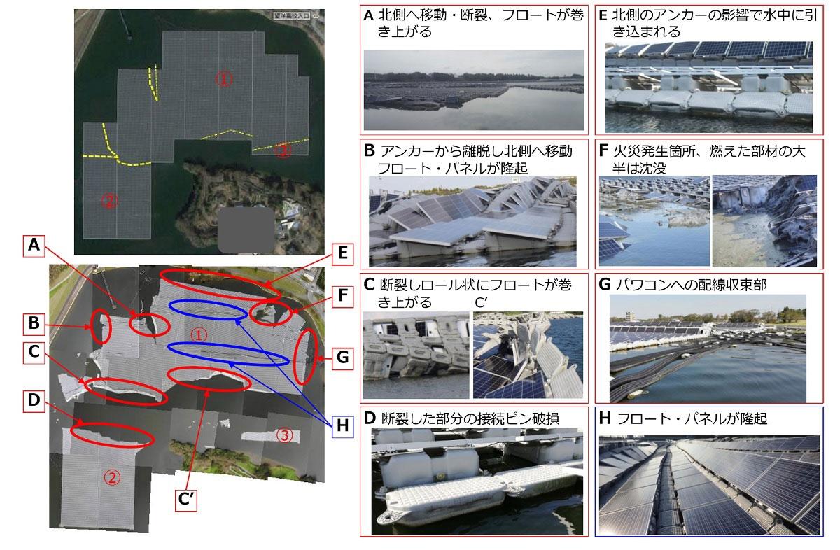 図6●事故の概要と被害の状況、黄色点線部よりアイランドが3つに分断 (出所:京セラTCLソーラー)