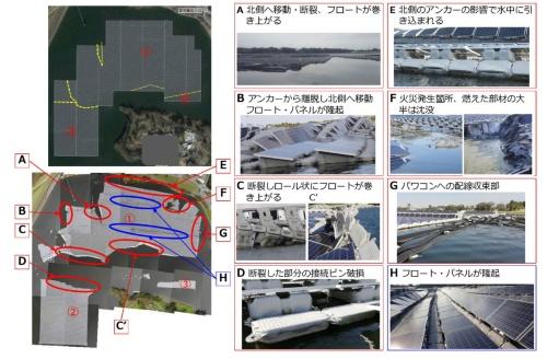 図6●事故の概要と被害の状況、黄色点線部よりアイランドが3つに分断