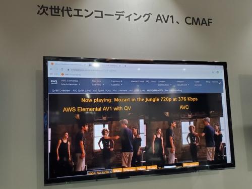 アマゾンウェブサービスジャパンはAWSでAV1エンコードした動画(左)とH.264動画(右)を比較して見せた