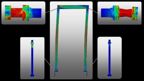 ネジにかかる応力を基に構造体全体の応力分布を可視化できる