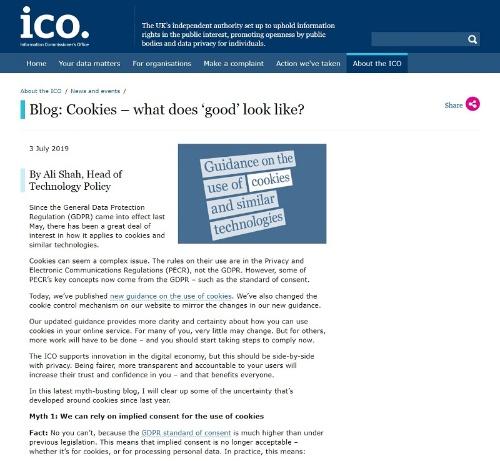 公表したガイダンスを説明する英国データ保護機関ICOのWebサイト