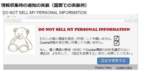 「私の個人情報の販売を禁止する(Do Not Sell My Personal Information)」の画面例